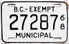 1968 British Columbia Municipal Exempt # 27287