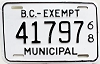 1968 British Columbia Municipal Exempt # 41797