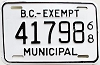 1968 British Columbia Municipal Exempt # 41798