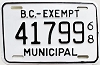 1968 British Columbia Municipal Exempt # 41799