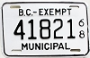 1968 British Columbia Municipal Exempt # 41821