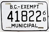 1968 British Columbia Municipal Exempt # 41822