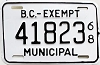 1968 British Columbia Municipal Exempt # 41823