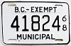 1968 British Columbia Municipal Exempt # 41824