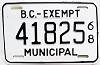 1968 British Columbia Municipal Exempt # 41825