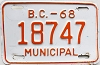 1968 British Columbia Municipal # 18747