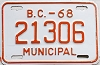 1968 British Columbia Municipal # 21306