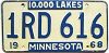 1968 MINNESOTA license plate # 1RD-616