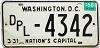 1968 Washington D.C. DIPLOMAT license plate # 4342