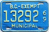 1969 British Columbia Municipal Exempt # 13292