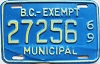 1969 British Columbia Municipal Exempt # 27256