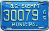 1969 British Columbia Municipal Exempt # 30079