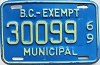 1969 British Columbia Municipal Exempt # 30099