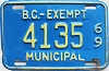 1969 British Columbia Municipal Exempt # 4135