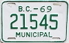 1969 British Columbia Municipal # 21545