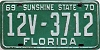 1969 FLORIDA license plate # 3712, Lake County