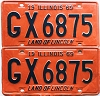 1969 Illinois pair # GX 6875