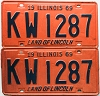 1969 Illinois pair # KW 1287