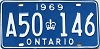 1969 ONTARIO license plate # A50-146
