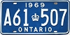 1969 ONTARIO license plate # A61-507