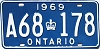 1969 ONTARIO license plate # A68-178