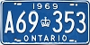 1969 ONTARIO license plate # A69-353