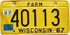 1969 Wisconsin Farm license plate # 40113