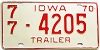 1970 Iowa Trailer #4205, Polk County