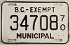 1970 British Columbia Municipal Exempt # 34708