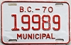 1970 British Columbia Municipal # 19989
