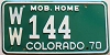 1970 Colorado Mobile Home # WW-144, Washington County