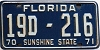 1970 FLORIDA license plate # 19d216, Brevard County