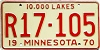 1970 MINNESOTA RECREATIONAL VEHICLE license plate # R17-105