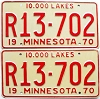 1970 MINNESOTA RECREATIONAL VEHICLE license plates pair # R13-702