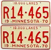 1970 MINNESOTA RECREATIONAL VEHICLE license plates pair # R14-465