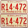 1970 MINNESOTA RECREATIONAL VEHICLE license plates pair # R14-472