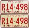 1970 MINNESOTA RECREATIONAL VEHICLE license plates pair # R14-498