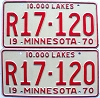 1970 MINNESOTA RECREATIONAL VEHICLE license plates pair # R17-120