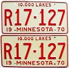 1970 MINNESOTA RECREATIONAL VEHICLE license plates pair # R17-127