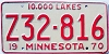 1970 MINNESOTA TRAILER license plate # Z32-816
