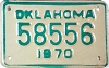 1970 OKLAHOMA Motorcycle license plate # 58556