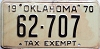 1970 OKLAHOMA TAX EXEMPT license plate # 62-707