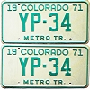 1971 Colorado Metro Tractor pair low # YP-34, Kiowa County