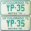 1971 Colorado Metro Tractor pair low # YP-35, Kiowa County
