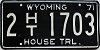 1971 Wyoming House Trailer # 1703, Laramie County