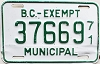 1971 British Columbia Municipal Exempt # 37669