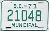 1971 British Columbia Municipal # 21048