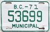 1971 British Columbia Municipal # 53699
