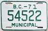 1971 British Columbia Municipal # 54522