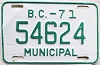 1971 British Columbia Municipal # 54624